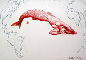 La isla de Cuba. Roberto Favelo, óleo sobre lienzo.