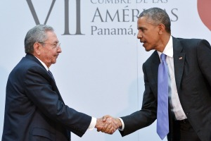 US President Barack Obama (R) shakes hands with Cuba's President Raul Castro during a meeting on the sidelines of the Summit of the Americas at the ATLAPA Convention center on April 11, 2015 in Panama City. AFP PHOTO/MANDEL NGANMANDEL NGAN/AFP/Getty Images