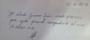 Certifico de pago a Aliusbis Guerrero