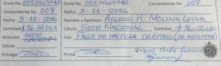 Certifico de pago a Arcelio Molina