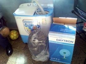 Lavadora y ventilador comprados por Zaqueo Báez